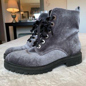 Rihanna Velvet Lace Up Military Combat Boots Grey